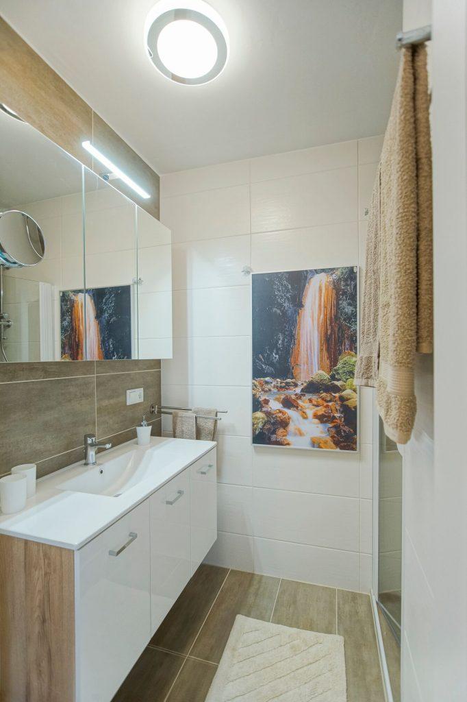 Badezimmerwaschtisch gegenüber der Dusche